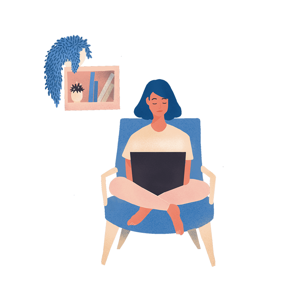 Sitting at home on a chair